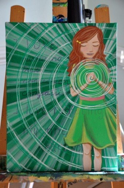 Add energy swirling out into the foreground of the painting using white and green inks and paint...